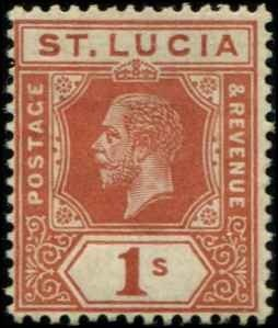 St Lucia SC# 71 KGV 1 shilling MH SCV $20.00 with mount