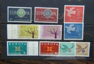 Luxembourg 1960 1961 1962 1963 1965 Europa sets MNH