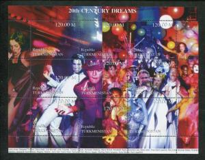 Turkmenistan Commemorative Souvenir Stamp Sheet - Hollywood 20th Century Dreams