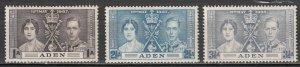 Aden - 1937 Coronation Sc# 13/15 - MLH (7735)
