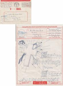 Canada Soldier's Free Mail 1945 Canadian Overseas S.C.2, P.D. A.P.O. 513 251s...