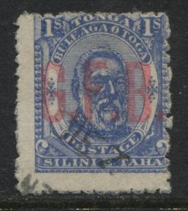 Tonga 1893 1/ ultra Official overprinted G.F.B. used