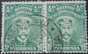 Rhodesia Admiral ½d pair with NYAMANDHLOVU (DC) postmark