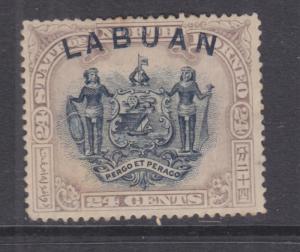 LABUAN, 1897 24c. without Postage & Revenue, perf. 14 1/2-15, mint no gum.
