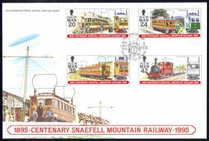 Isle of Man Sc# 623-626 FDC 1995 Centenary Snaefell Mountain Railway