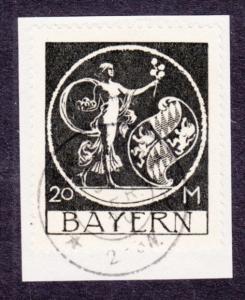 Bavaria Sc 254 used 1920 20m black Genius by von Kaulbach on Small Piece, VF