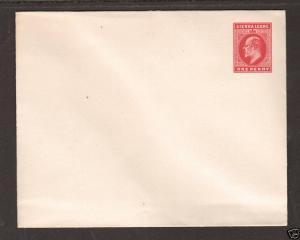 Sierra Leone H&G B3a mint 1902 1p size C Envelope, postal stationery