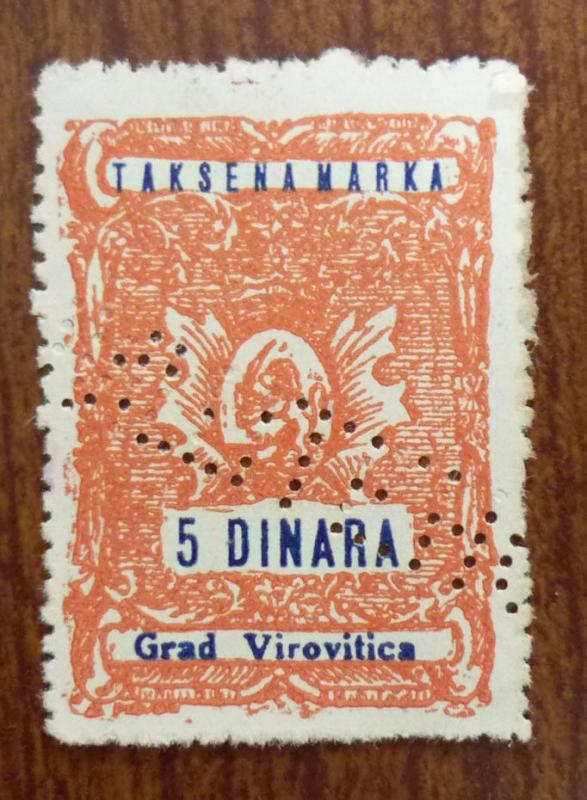 Croatia in Yugoslavia Local Revenue Stamp VIROVITICA! J21