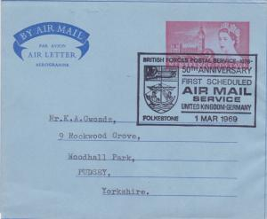 GB 1969 50th anniv Forces Postal Service 9d Air letter Folkestone-Pudsey VGC