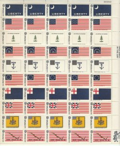 Stamp US Sc 1345-54 Sheet 1968 Historic Flags American Revolution Colonial MNH