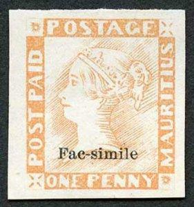 Mauritius One Penny Post Paid Facsimile (probably 1904/13 Francois Fournier)
