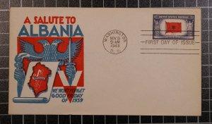 Scott 918 - 5 Cents Albania - Staehle FDC - Typed Address - Planty 918-18