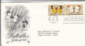 1977, Butterflies-Orange Tip, Dogface, Artcraft/PCS, FDC (E7996)