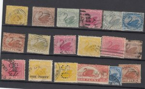 Western Australia Unchecked Swan Collection Of 18 Fine Used JK6310