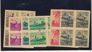 ESTONIA 1941 IMPERFORATE SET BLOCKS OF FOUR