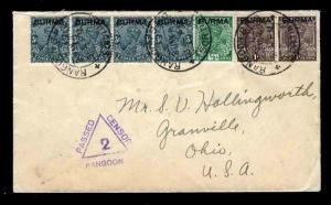Burma WWII Missionary Mail 1/2/1940 WWII Rangoon- USA Censored Sc #1x4, 2 & 4
