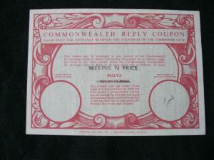 MALTA COMMONWEALTH REPLY COUPON USED