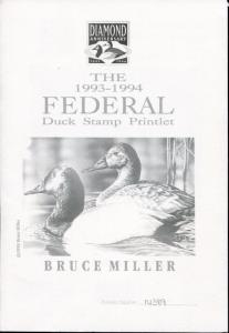 1993-1994 60th Federal Duck Stamp Printlet Limited and Signed by Bruce Miller