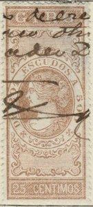 ESPAGNE / SPAIN / ESPAÑA 1867 Sello Fiscal (GIRO) 25 centimos castaño - Usado