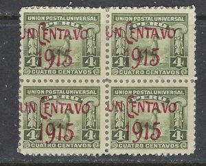 Peru 192 MH 1915 surcharge block of 4 (ap7313)