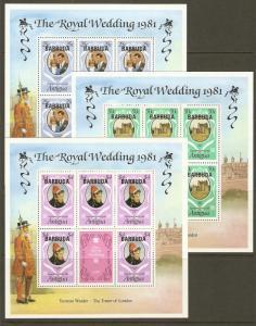 Barbuda #497-9 NH Royal Wedding Ovpt. Barbuda (Sheetlets ...