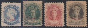CANADA NOVA SCOTIA 1860-63 Sc 10-13 TOP VALUES FORGERIES WITH SPECIMEN OVPTS
