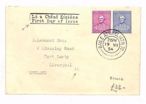 BF230 1954 EIRE Dublin First Day Cover GB Liverpool SORTING MARKS