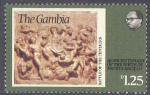 Gambia #322-324, Complete Set(3), 1975, Art, Never Hinged