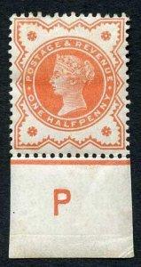 SG197 1887 1/2d Vermilion Control P Perf I M/M Cat 14