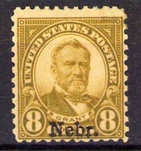 Nebraska Overprint 8¢ Grant Scott 677 Mint Hinged