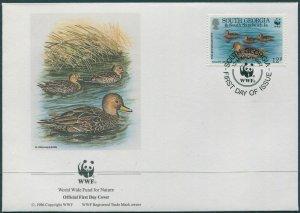 South Georgia 1992 SG216 12p Teals Swimming FDC