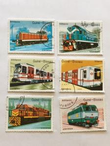 Guinea-Bissau – 1989 – Set of 6 Train Stamps – SC# 795-800 – Used
