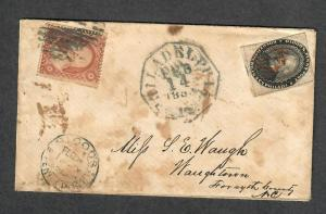 US Sc#26 + 15L18 Blood's Penny Post 1859 Philadelphia Local Cover, Cv. $350