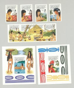 St Vincent (Grenadines) #644-650 Columbus UPAE 4v & 1v Strip of 4 & 2v S/S Proof