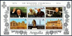 ANGUILLA - 1974 - WINSTON CHURCHILL - ROOSEVELT - BLENHEIM + MINT - MNH S/SHEET!