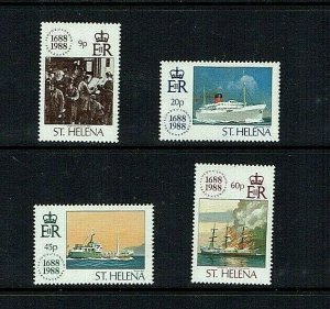 St Helena: 1988, Tercentenary Lloyds of London, ships, MNH set