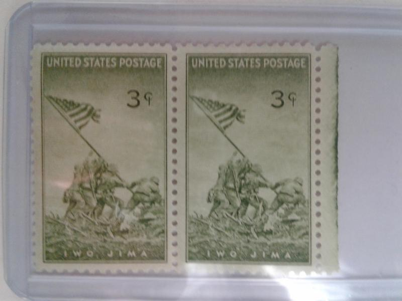 SCOTT # 929 MARINES- FLAG RAISING DOUBLES GEMS POST OFFICE FRESH