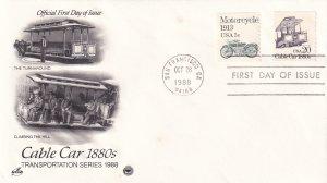 1988, Cable Car-1880's, Art Craft/PCS, FDC (E11711)