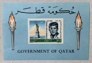 Qatar 1966 New Currency JFK MS. SE NOTE. Scott 119B, CV $80.00, Mi BL 13