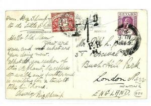 CEYLON Colombo GB Postcard HUNTING Underpaid POSTAGE DUES 1929 {samwells} CW45