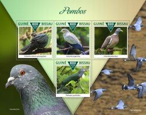 GUINEA BISSAU - 2019 - Pigeons - Perf 4v Sheet - M N H