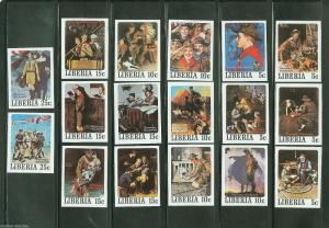 LIBERIA NORMAN ROCKWELL SET OF 17 BOY SCOUT PAINTINGS IMPERFORATED MINT NH