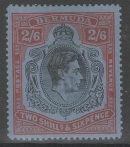 BERMUDA SG117a 1942 2/6 BLACK & RED/GREY-BLUE p14¼ MTD MINT