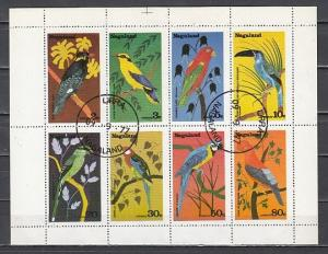 Nagaland, 1977 India Local. Birds on a sheet of 8. Canceled