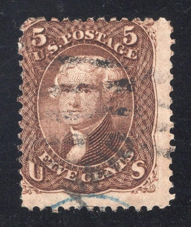 US#95 Brown - F Grill - PAID and Partial Blue Cancel - (Var.) - Cat:$975.00