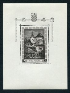 CROATIA GERMAN PUPPET STATE 1943 B40 ZAGREB EXHIBITION MINI SHEET PERFECT MNH