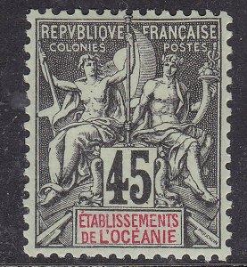 FRENCH  OCEANIA ^^^^1900  Yvert# 49  hingeCLASSIC( well centered)  $$@sc47oceaeb