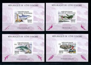 [75709] Ivory Coast 2005 Marine Life Whales Lighthouses 4 Imperf. Sheets MNH