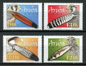 Aruba Birds of Prey on Stamps 2019 MNH Feathers Owls Falcons 4v Set