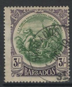 BARBADOS SG200 1918 3/= GREEN & DEEP VIOLET USED